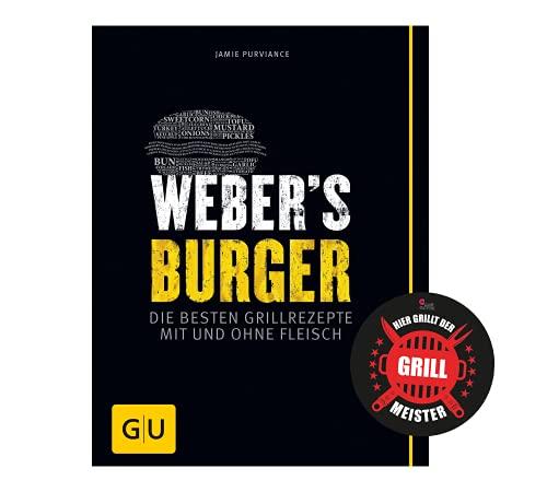 Collectix Weber's Burger: le migliori ricette con e senza carne (barbecue GU Weber's Grill) + adesivo per barbecue, libro di ricette per gli appassionati di hamburger