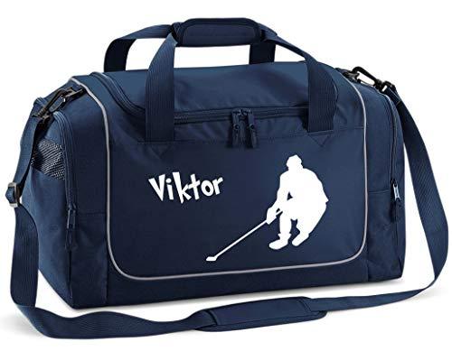 Mein Zwergenland Sporttasche Kinder personalisierbar 38L, Kindersporttasche mit Name und Eishockey Bedruckt in French Navy Blau