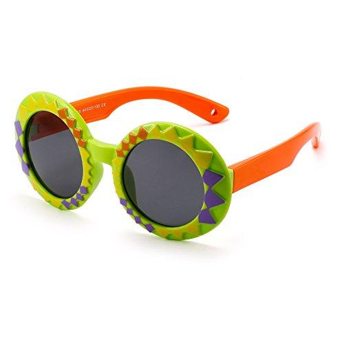 JM Niños Polarizado Goma Redondas Gafas de Sol Linda Chicos Niñas Hijos Años 3-12(Verde&Naranja/Gris)