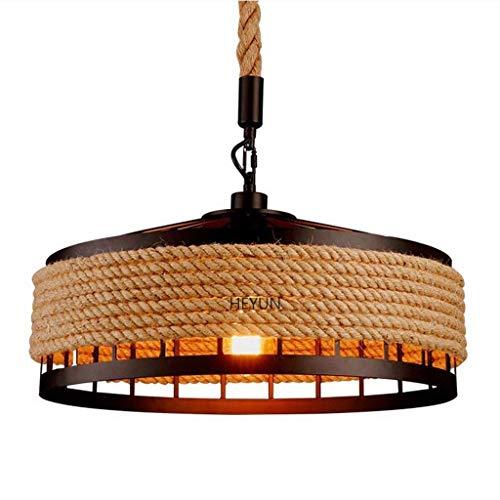 Cuerda de cáñamo, Cuerda rústica Luminaria de techo industrial de la isla de cocina, Lámparas de araña de luces retro creativas, Lámpara colgante de hierro de yute vintage Lámpara