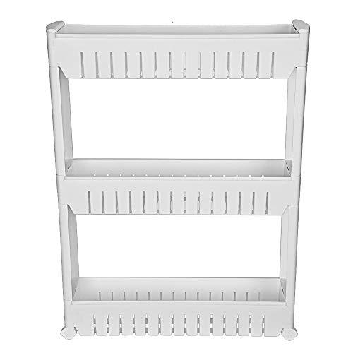 GXOK 3-Tier Mobile Shelf Kitchen Storage Rack Bathroom Stand Organizer Laundry Cart Layered Seam Rack for Home Storage Shelf Ship from USA Directly
