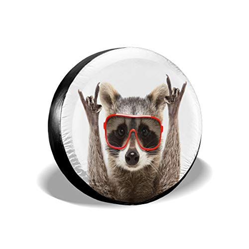 DIYAB Portrait Funny Raccoon Sunglasses Rock Spare Tire Cover fits Camper RV Scamp Trailer etc 14 Inch