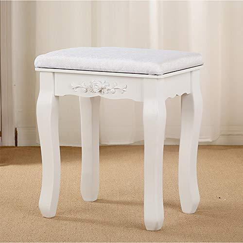 ZSYUN - Taburete de tocador, estilo europeo, para maquillaje, taburete acolchado, silla de piano, para dormitorio, sala de estar, decoración 30x40x45cm plata