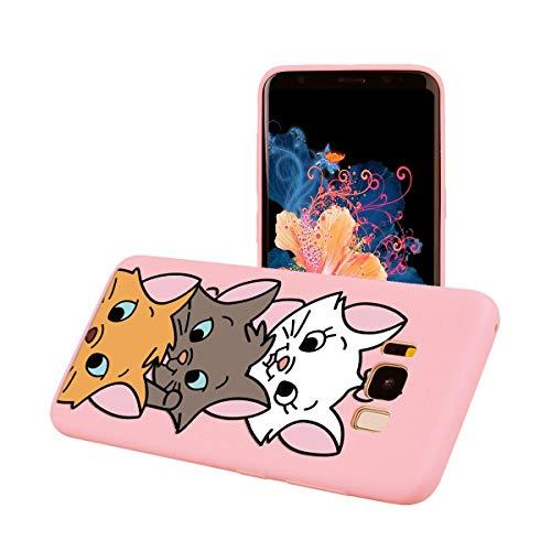ZhuoFan Funda Samsung Galaxy S8 Plus, Cárcasa Silicona Rosa con Dibujos Diseño Suave Gel TPU Antigolpes de Protector Piel Case Cover Bumper Fundas para Movil Samsung Galaxy S8Plus, 3 Gato