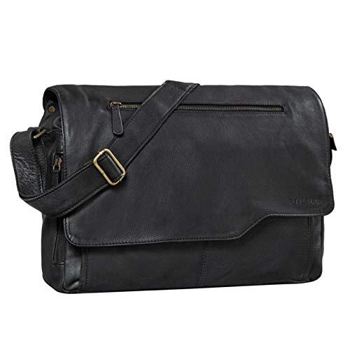 STILORD 'Marvin' lederen tas schoudertas modern vintage design 15,6 inch laptoptas grote eenheidstas echt leer, Kleur:zwart
