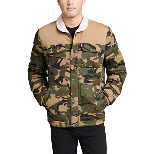 Levi's Men's Quilted Mixed Media Shirttail Work wear Puffer Jacket, Camouflage/tan, X-Large