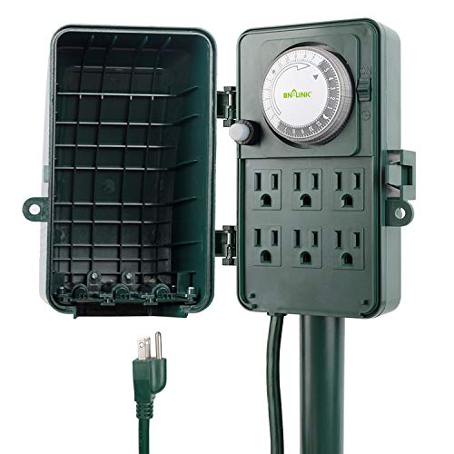 BN-LINK 24 Hour Mechanical Outdoor Multi Socket Timer, 6 Outlet Garden Power Stake
