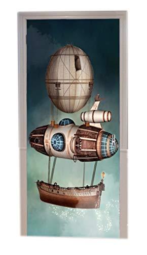A.Monamour Pegatinas De Pared 3D Steampunk Barco De Fantasía Dirigible Barco Fantasía Decorados Vinilo Puerta Calcomanías Papel Tapiz Murales De Pared Papel Pintado Pegatinas Posters Autoadhesivo