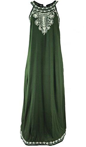 Guru-Shop Langes Boho Sommerkleid, Indisches Maxikleid, Damen, Tannengrün, Synthetisch, Size:40, Lange & Midi-Kleider Alternative Bekleidung