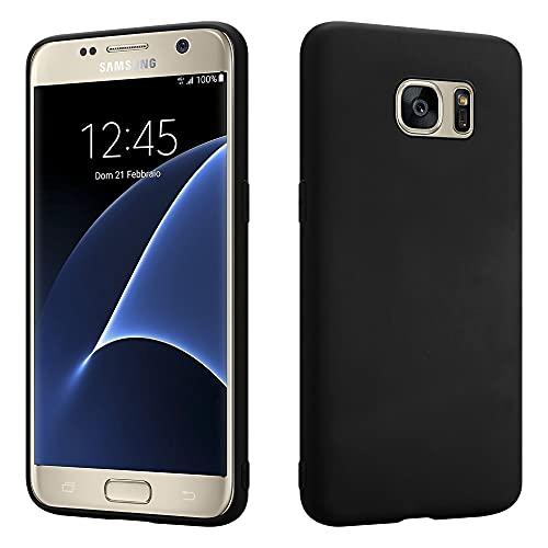 HSP Matt Schwarze Hülle kompatibel mit Samsung Galaxy S7 | Premium TPU Silikon Hülle | Kratzfest Stoßfest | Matte Oberfläche | Passexakte, weiche, Ultra dünne Schutzhülle