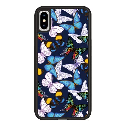 shefine Blue Butterfly Phone CaseCompatible withiPhone 11 6.1 Inch-Shockproof ProtectiveTPU Aluminum CuteCool Phone CaseDesigned foriPhone 11Casefor Women, Girls, Best Friends