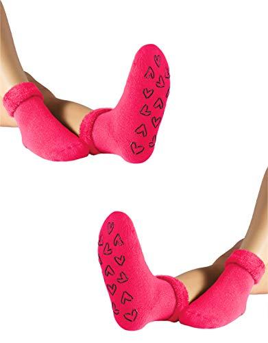 CALZITALY Bunte Damen Warme Socken Angora Effekt | Einheitsgröße | Made in Italy (2 X Fuxia)