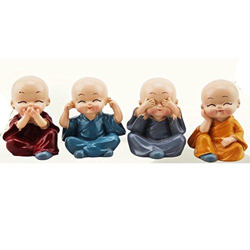 Caxmtu 1Stk. Kleiner Kungfu-Mönch, Maitreya, Buddha, aus Kunstharz, Kunsthandwerk für Auto, Home, Schreibtisch, Dekoration