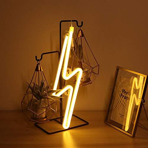 YUNYODA Letreros de neón con relámpagos, letreros de neón LED, luces, lámpara de noche de pared artística, USB / pilas, luces nocturnas de neón, letreros luminosos para dormitorio de niños