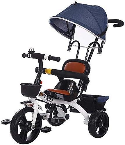 Baby-Kind-Kind-Dreirad, fürt auf 3 R r Sicher Canopy Bike, umweltfreundliche komfortabel und atmungsaktiv einstellbar,Blau
