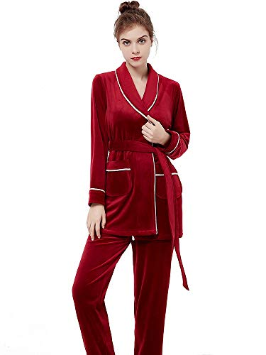 HXGpajamas Conjunto de 2 Arriba elástico Isla Fleece Albornoz Atractiva Novia Bata Camisón Color Puro con Cuello en V señoras de Albornoz Comodidad (Color : Ladies Wine Red, Size : X-Large)
