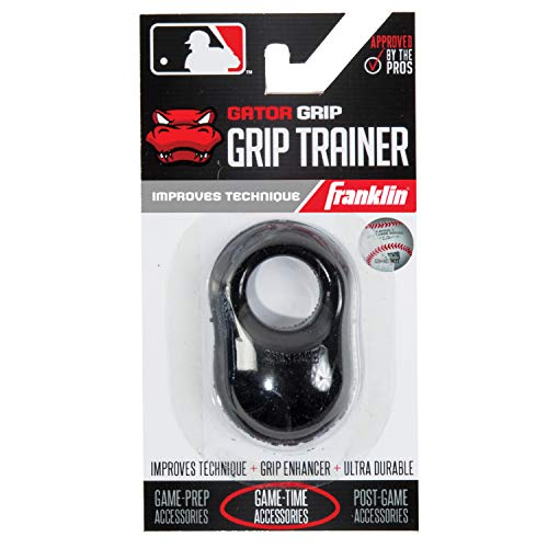 Franklin Sports Baseball Bat Swing Trainer - Gator Grip Grip Trainer - Baseball and Softball Hitting Aid - Knuckle Aligner and Swing Trainer - Black, (Model: 24052C1)