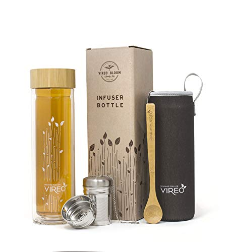 Vireo Bloom Glass Tea and Fruit Infuser Travel Bottle - BPA Free Double Wall Insulated 480ml Eco Flask - For Hot or Cold Liquids - Bonus Wooden Spoon and Neoprene Temperature Sleeve