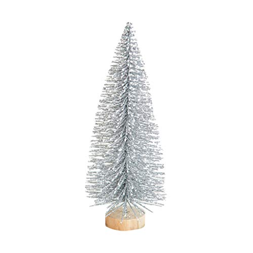 IHEHUA Weihnachtsbaum Künstlich Weihnachtsdeko Weihnachten Desktop Kleine Beflockung Tannenbaum Tischdeko Christbaumschmuck mit Holz Ständer 20CM
