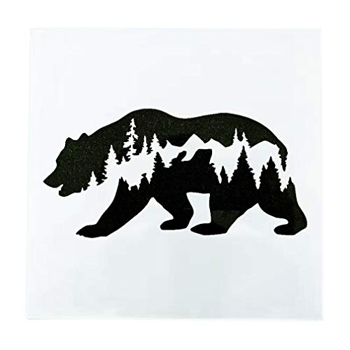 OBUY Forest Bear DIY Craft Hollow Layering Stencils for Painting on Wood, Fabric, Walls,Decorative, Airbrush + More | Reusable 7.87x 7.87 inch Mylar Template