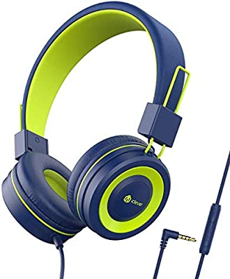 iClever Kids Headphones Boys, Childrens Headphones on Ear, 85/94dB Volume Limited, Stereo Sound, Foldable, Untangled Wires, 3.5mm Jack for School Travel by Iclever