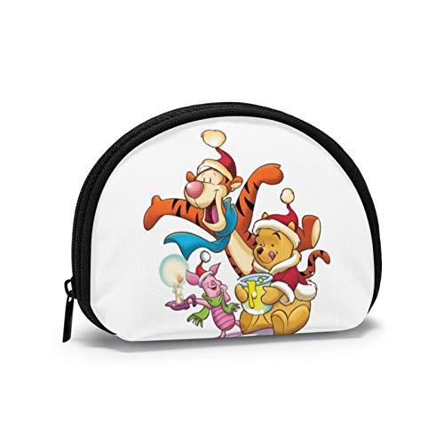 Winnie The Pooh Pasa la Navidad con Amigos Monedero para Hombre Mini Tipo de Carcasa Almacenamiento de Llaves Cremallera de Color