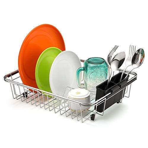 Escurreplatos expandible SANNO para platos, escurreplatos en el fregadero o en la encimera con soporte de almacenamiento para utensilios de plata, acero inoxidable