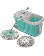 Spotzero by Milton Elite Spin Mop with Bigger Wheels and Plastic Auto Fold Handle for 360 Degree Cleaning (Aqua Green, Two Refills)