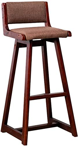 XHCP Living Room Furniture Stools Wooden Barstools Upholstered Seat with Backrest for Kitchen Restaurant Pub | Cafe Counter Height Stool Linen Fabric Cushion Dining Chairs