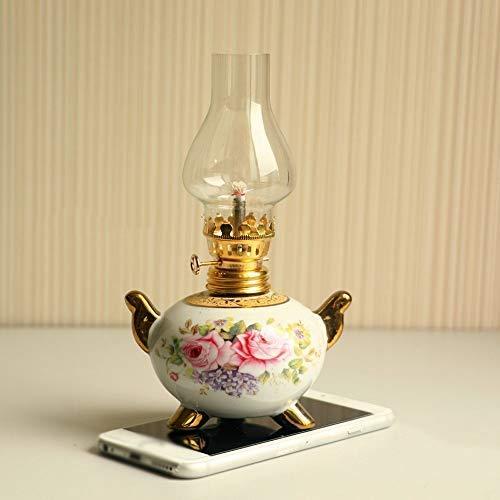 YGB Klassieke Olie Lamp,Chinese Stijl Decoratieve Lichten Hoge Vintage Glas Kerosine Lamp Chinese Tery Camping Kandelaars Lantaarn