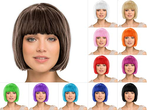 Alsino Bob Karnevalsperücke Damen, Farbe: schwarz, Haarlänge: 28 cm - Kurzhaar Fasching Perücke glatt