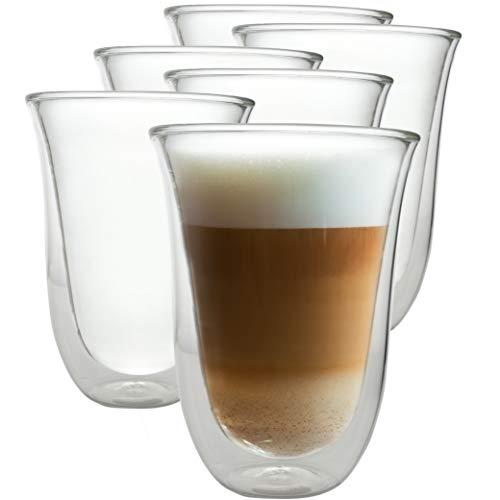 Caffé Italia Napoli - 6X Tasse Verre Double Paroi 300 ML - Tasse a Cafe pour de Latte Macchiato, Boissons Chaudes et Froides - Lavable au Lave-Vaisselle.