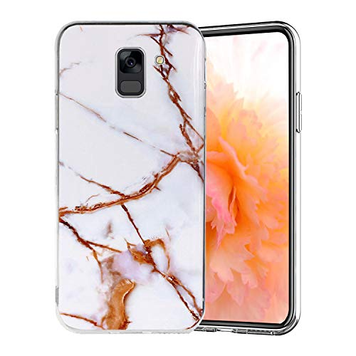 Misstars Coque en Silicone pour Galaxy A8 2018 Marbre, Ultra Mince TPU Souple Flexible Housse Etui de Protection Anti-Choc Anti-Rayures pour Samsung Galaxy A8 2018 / A5 2018, Blanc Or