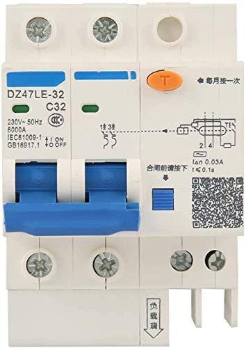 Disyuntor de circuito doméstico Disyuntor miniatura DZ47LE-32 Disyuntor de corriente residual 2P + N C32 RCCB 230V 32A 30mA Protección contra sobrecarga de fuga contra cortocircuito-50A-32A
