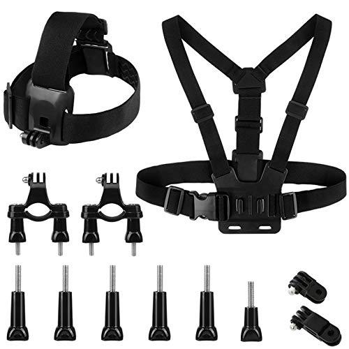 Action Camera Brustgurt Kopfhalterung Action Kamera Zubehör Kit Einstellbarer Brustgurt Halterung 2 IN 1 Chest Strap Camera J-Hakenfür Action Camera