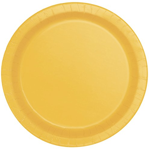 Unique Party - Platos de Papel - 23 cm - Amarillo - Paquete de 16 (31843)