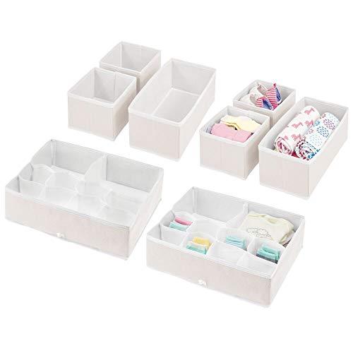 mDesign Soft Fabric Dresser Drawer and Closet Storage Organizer Set for Child/Kids Room, Nursery - Includes Organizer Bins in 3 Sizes - Herringbone Print with Solid Trim - Set of 8 - Cream/White