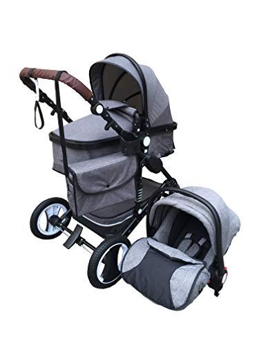 """Kinderwagen """"Florida"""", 3 in 1 Kombikinderwagen Megaset 8 teilig inkl. Babyschale, Babywanne, Sportwagen und Zubehör, zertifiziert nach der Sicherheitsnorm EN1888, Jeans"""