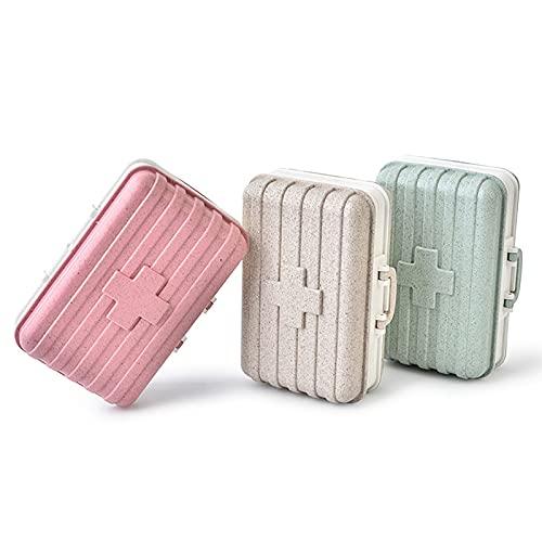 Conjunto de 3 Piezas de la Caja de Medicina de la Caja de Seis Compartimentos de Trigo Creativo Caja de Medicina Biodegradable con Tapa, con compartimientos, Mini Caja (Beige + Rosa + Verde)