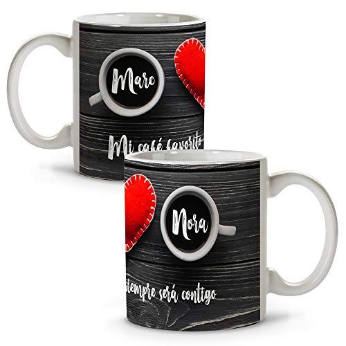LolaPix Tazas de Café Originales Personalizadas con Frase/Nombre. Regalos San Valentin Personalizados. Tazas Personalizadas...