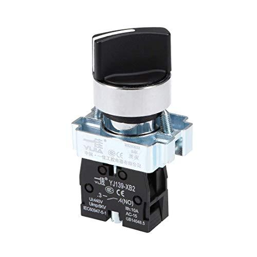 Interruptor selector giratorio DyniLao 2 posiciones 1NO Autobloqueo enclavamiento AC 380V 10A 22mm Montaje en panel