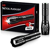 2-Pack ZAZZIO Zoomable Water-Resistant LED Tactical Flashlights