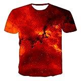 FANGDADAN 3D T-Shirt,Unisex Novelty Crewneck Camiseta Sueño Noche Estrellado Cielo Gráfico Casual Moda Hip Hop Camiseta para Hombres Y Mujeres Creative Summer Plus Tamaño Top, Rojo,3X, Grande