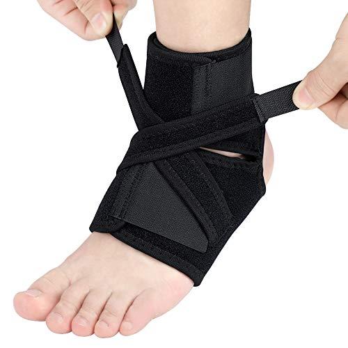 Haofy Tobillera para estabilizador de tobillo torcido con correas elásticas de compresión extra, Soporte de pie para la protección deportiva, Fascitis plantar, Esguince de recuperación