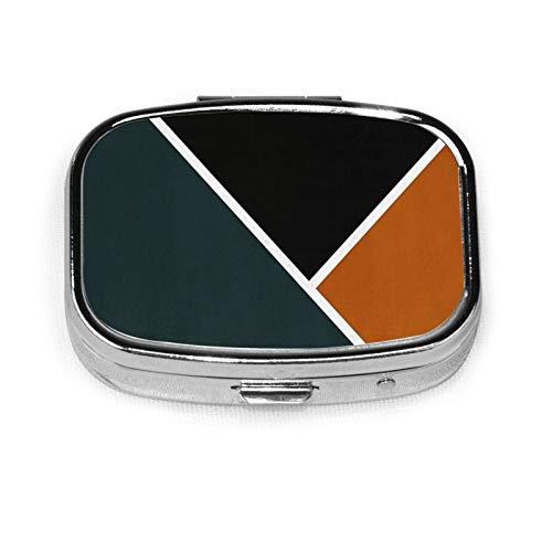 Square Pill Box Fashion Pill Organizer Travel Pill Case Noir Series Forest & Orange Medical Dispenser for Vitamins Supplements Medicine Box