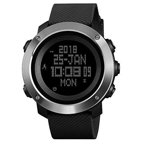 Fashion Watch Hipster Movement Step Reloj electrónico para exteriores Brújula Brújula Metrónomo Hora mundial Reloj