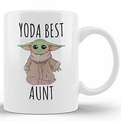 Tazas de café de cerámica de la novedad Yoda Best Aunt Regalo divertido para la tía Taza de té divertida Palabras divertidas Taza de regalo para Navidad Festival de Acción de Gracias Amigos