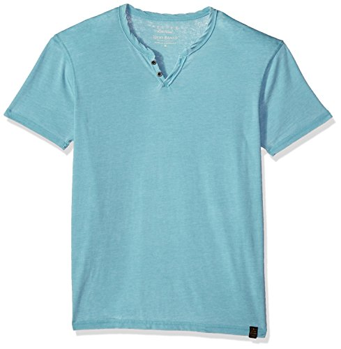 Lucky Brand Men's Venice Burnout Notch Neck Tee Shirt, Delphinium Blue, Large