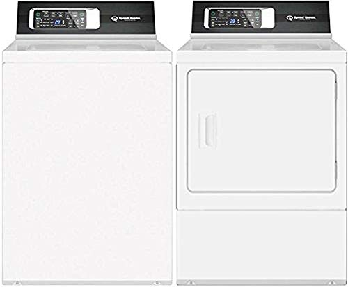 """Speed Queen White Laundry Pair with TR7000WN 26"""" Top Load Washer and DR7000WE 27"""" Electric Dryer"""