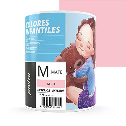 COLORES INFANTILES Pintura plástica ecológica sin olor e hipoalergénica de acabado mate y luminoso. (750 ML, ROSA)